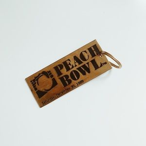 1989 Peach Bowl Deadstock Vintage Brass Keychain